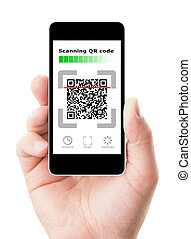 Smartphone in hand scanning QR code, isolated on white