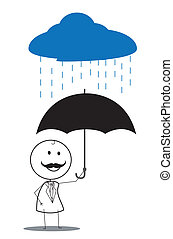 businessman umbrella rain