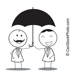 businessman with umbrella teamwork