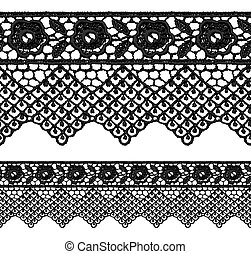 Black openwork lace seamless border. Realistic vector...