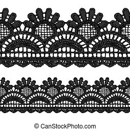 Black openwork lace seamless border Realistic vector...
