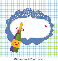 Bottle of champagne and frame christmas card