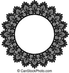 Round openwork lace border Realistic vector illustration
