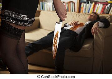 mujer, sangriento, cuchillo