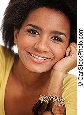 肖像画, 微笑, 女, 黒, 若い