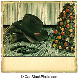 Vintage Cowboy christmas card.American background on old paper for text