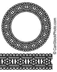Round openwork lace border. Realistic vector illustration.