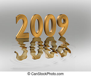 New Year 2009 graphic - Golden 3D numbers 2009 Illustration...
