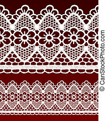 White openwork lace seamless border. Realistic vector...