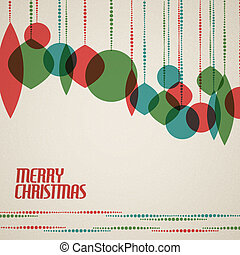 Retro Christmas card with christmas decorations