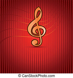 Red Music background with Treble Clef