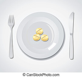 Diet concept Three tablets on a plate