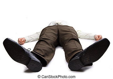 Young businessman lying on the floor  on white backgound