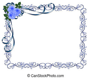 Blue Roses Invitation - 3D Illustrated Ribbons and roses in...