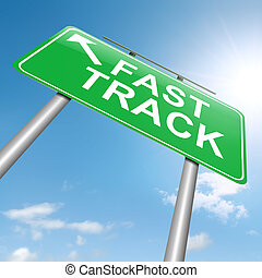 Fast track concept. - Illustration depicting a roadsign with...