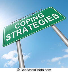 Coping strategies. - Illustration depicting a roadsign with...