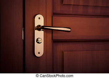 wooden door - the part of wooden door with metal handle