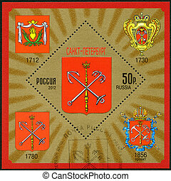 RUSSIA - CIRCA 2012: A stamp printed in Russia shows Coat of arms of  St.Petersburg, Russian Federation, circa 2012