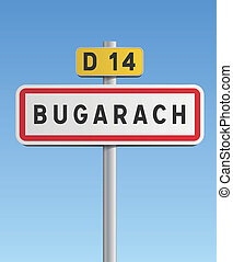 Bugarach road sign, French village