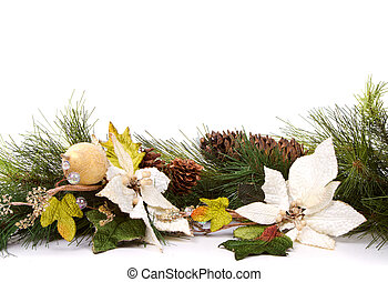 Pine branches and christmas flowers - Pine branches and...