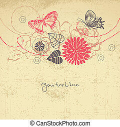 Abstract floral background with butterflies