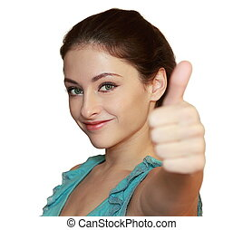 Happy smiling woman showing thumb up. Closeup isolated portrait