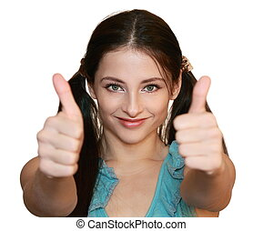 Smiling woman with thumbs up isolated on white background