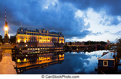 Amstel panorama - Panoramic view on the Amstel in Amsterdam,...