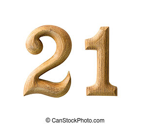 Wooden numeric 21 - Beautiful wooden numeric with shadow on...