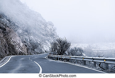 Winter Foggy Winding Road in Tenerife