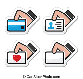 Hand holding credit card, business - Modern black icons set...