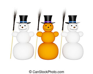 Snowmans with broom and hat - Three big snowman with broom...
