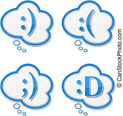 Speech bubbles with abstract text smiles, vector eps10...