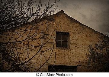 abandoned house rainy day