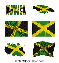 Jamaican flag collage - Jamaica flag and map in different...