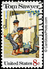 USA - CIRCA 1972 Tom Sawyer - USA - CIRCA 1972: A Stamp...