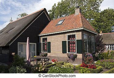 beau, traditionnel, maison, couvert chaume, toit, kalenberg,...