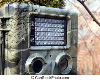 Trail Camera - Close up of a camouflaged trail, or wildlife,...