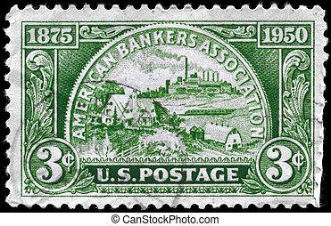 USA - CIRCA 1950 Banking Service - USA - CIRCA 1950: A Stamp...