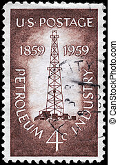 USA - CIRCA 1959 Oil Derrick - USA - CIRCA 1959: A Stamp...