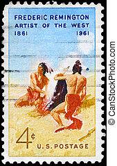 USA - CIRCA 1961 Frederic Remington - USA - CIRCA 1961: A...