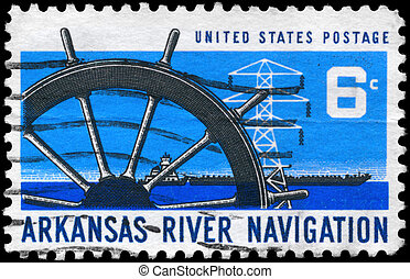 USA - CIRCA 1968 Ship Wheel - USA - CIRCA 1968: A Stamp...
