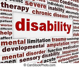 incapacidade, médico, mensagem, fundo