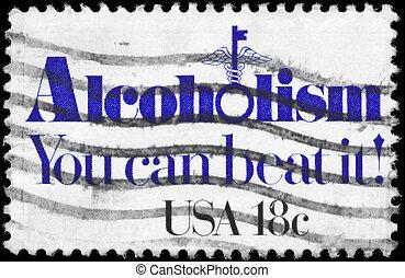 USA - CIRCA 1981 Alcoholism - USA - CIRCA 1981: A Stamp...
