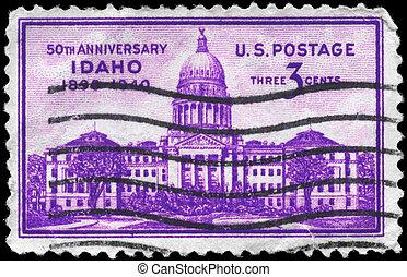 USA - CIRCA 1940 Idaho Capitol - USA - CIRCA 1940: A Stamp...