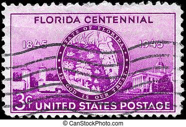 USA - CIRCA 1945 Florida Statehood - USA - CIRCA 1945: A...
