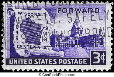 USA - CIRCA 1948 Wisconsin Statehood - USA - CIRCA 1948: A...