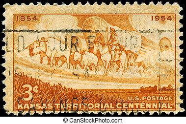 USA - CIRCA 1954 Kansas Territory - USA - CIRCA 1954: A...