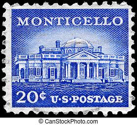 USA - CIRCA 1956 Monticello - USA - CIRCA 1956: A Stamp...