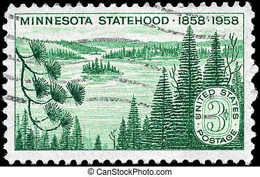USA - CIRCA 1958 Minnesota Statehood - USA - CIRCA 1958: A...